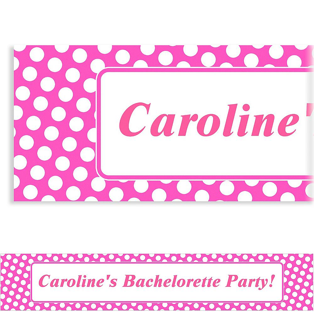 Custom Bright Pink Polka Dot Banner 6ft Image #1