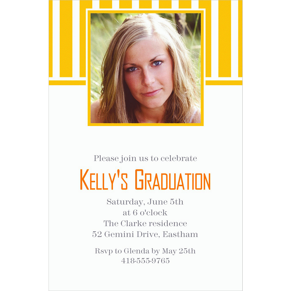 Custom Sunshine Yellow Stripe Photo Invitations Image #1