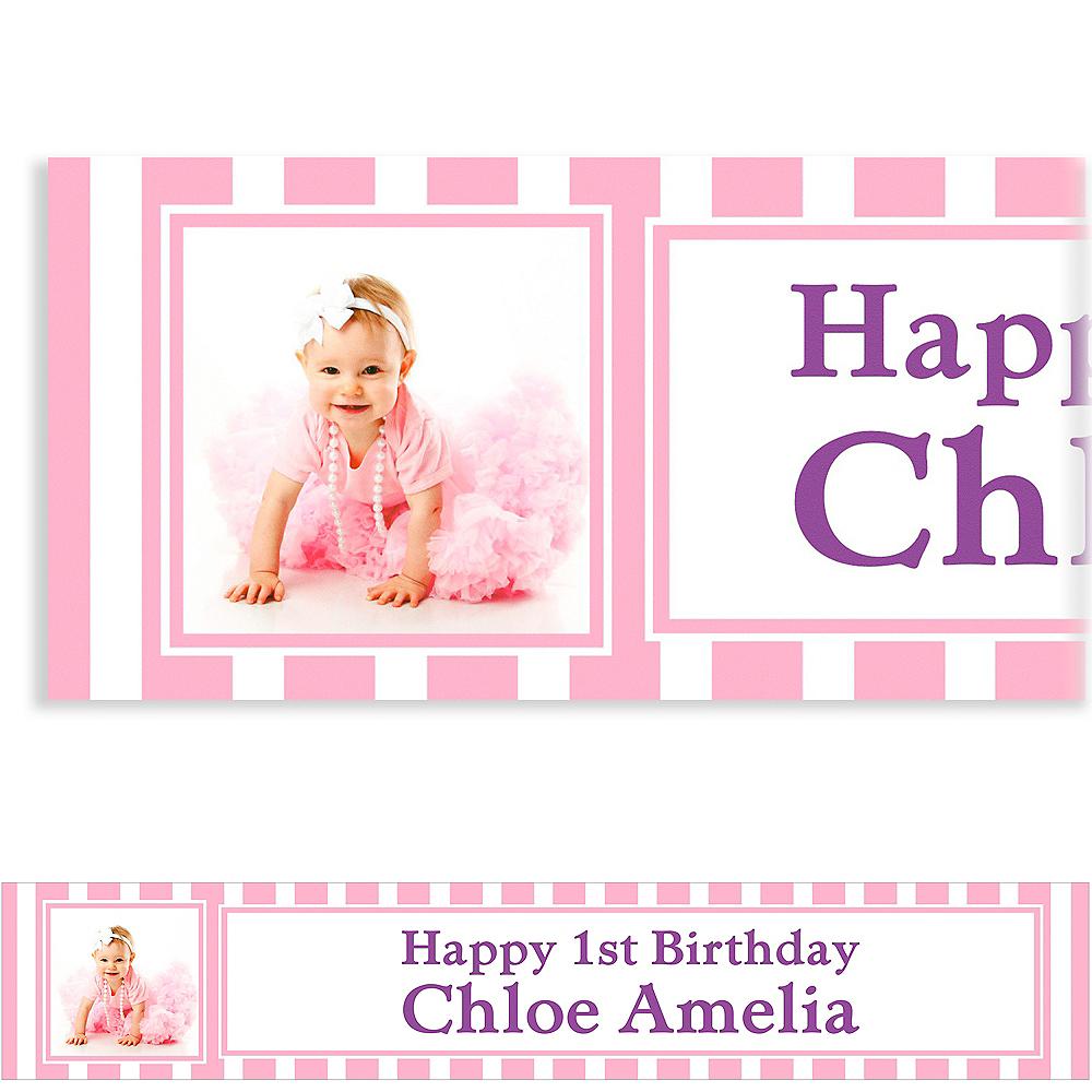 Custom Pink Stripe Photo Banner 6ft Image #1