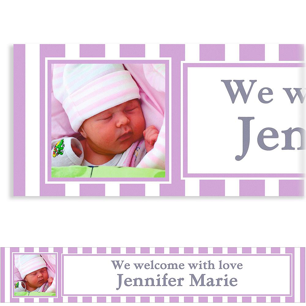 Custom Lavender Stripe Photo Banner 6ft Image #1