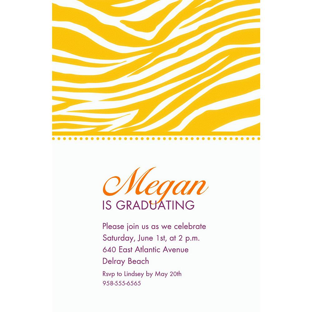Custom Sunshine Yellow Zebra Invitations Image #1