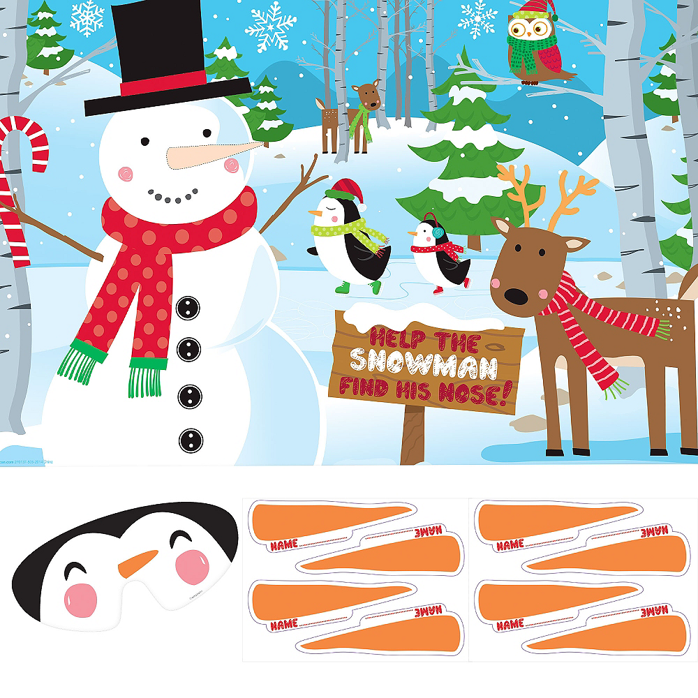 Pin the Nose on the Snowman Party Game Image #1