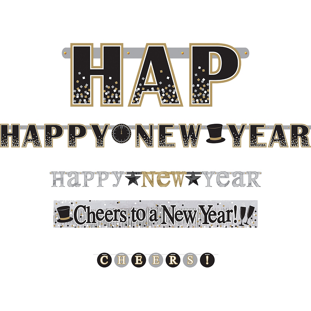 Sparkling New Year's Banners 4ct Image #1