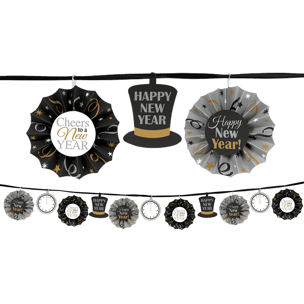 Sparkling New Year's Fan Garland Image #1