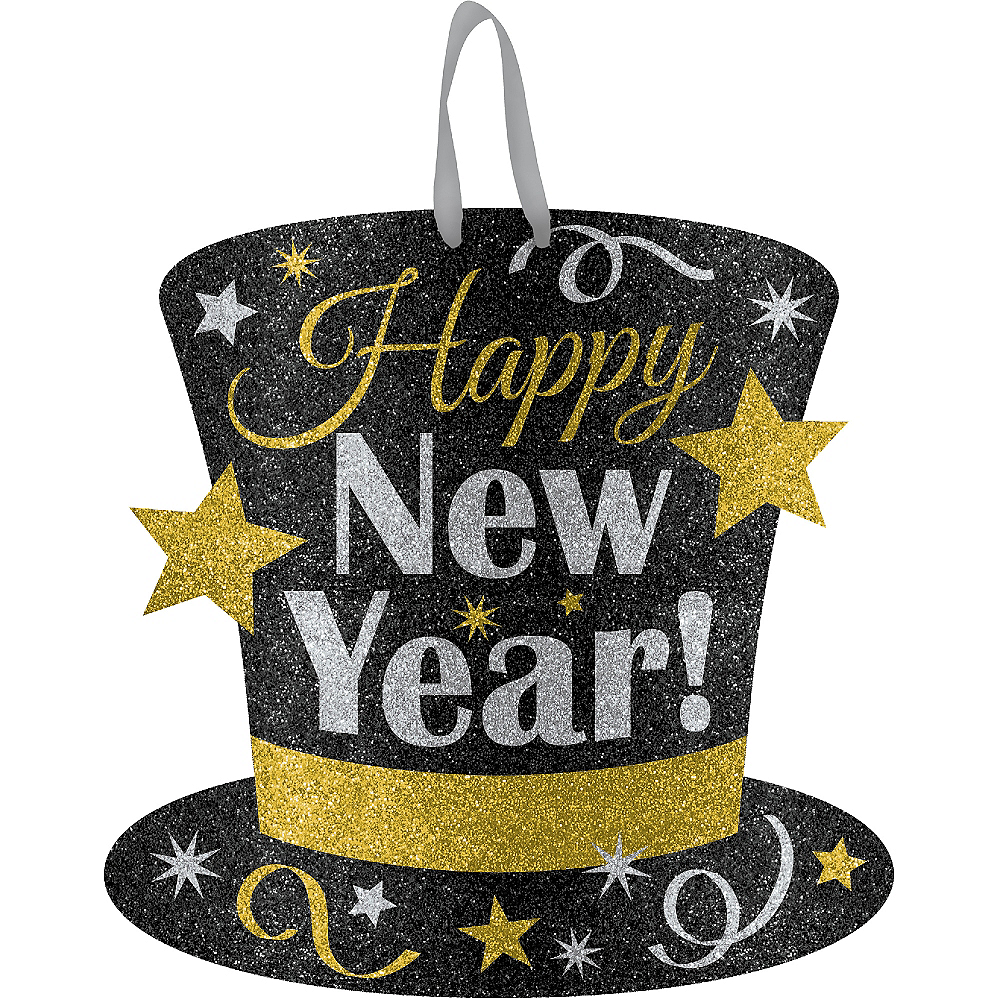 Glitter Black, Gold & Silver New Year's Top Hat Sign  Image #1