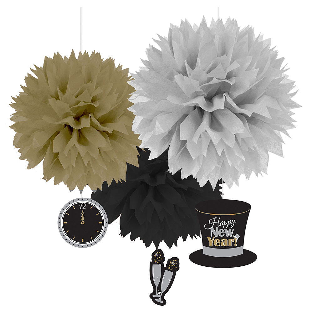 Sparkling New Year's Tissue Pom Poms 3ct Image #1