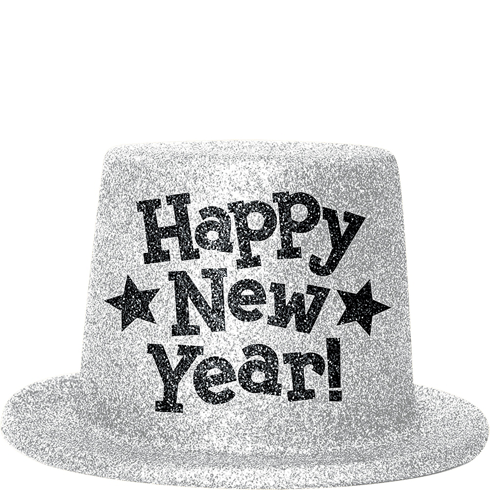 Silver Glitter New Year's Top Hat Image #1