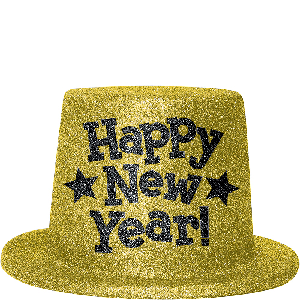 Gold Glitter New Year's Top Hat Image #1