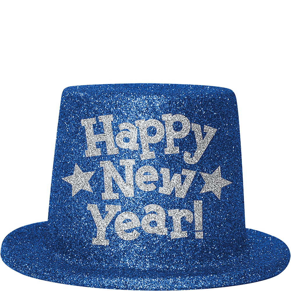 Blue Glitter New Year's Top Hat Image #1