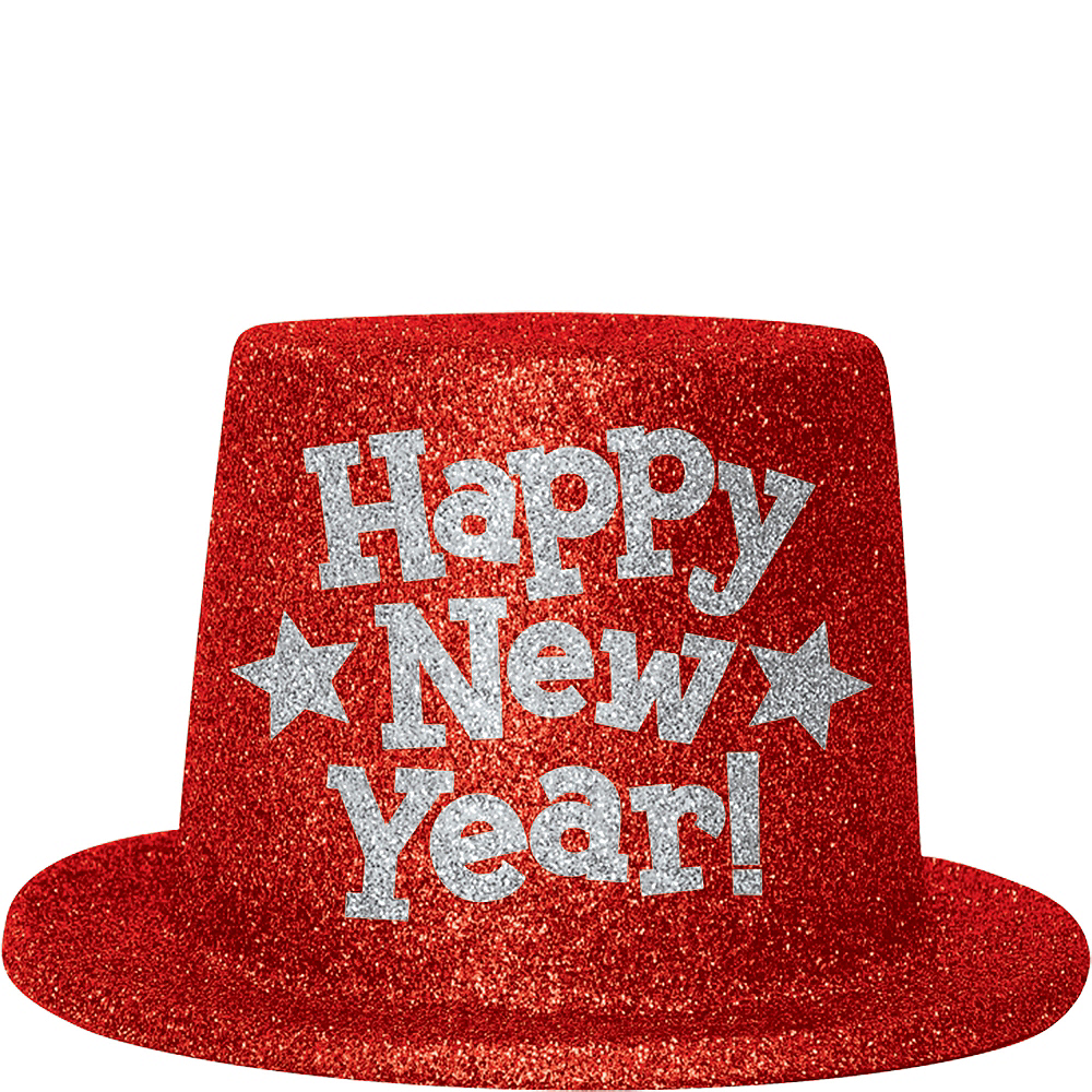 Red Glitter New Year's Top Hat Image #1
