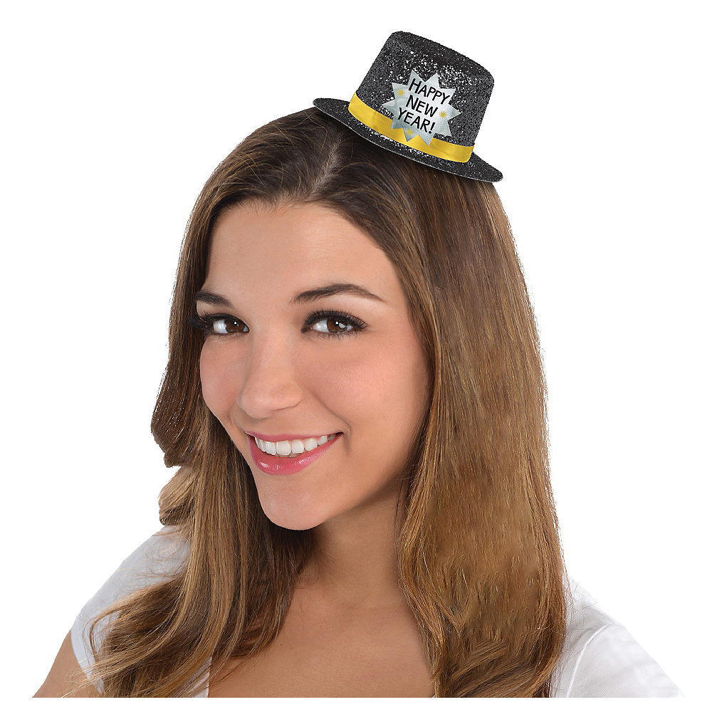 Nav Item for Black Happy New Year Glitter Mini Top Hat Image #1