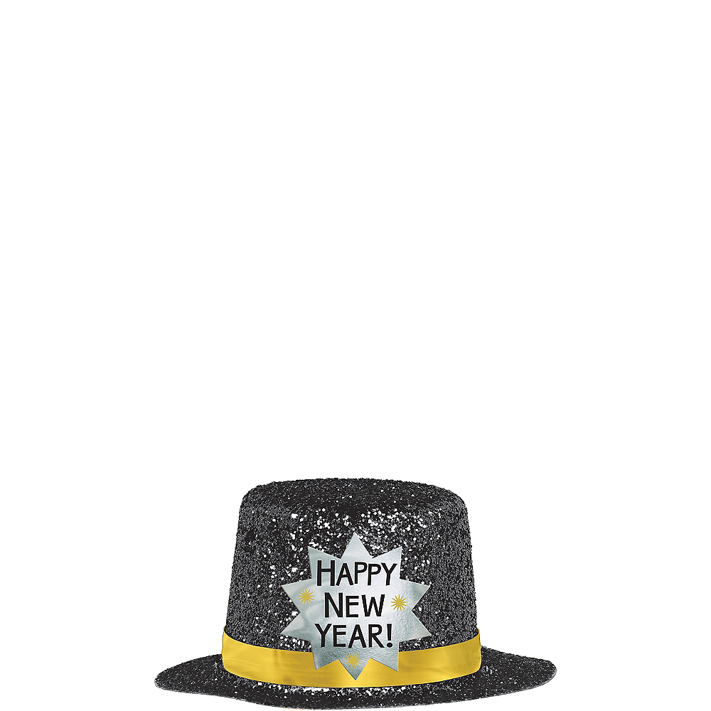 Nav Item for Black Happy New Year Glitter Mini Top Hat Image #2