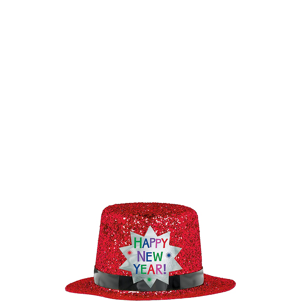 Red Happy New Year Glitter Mini Top Hat Image #2