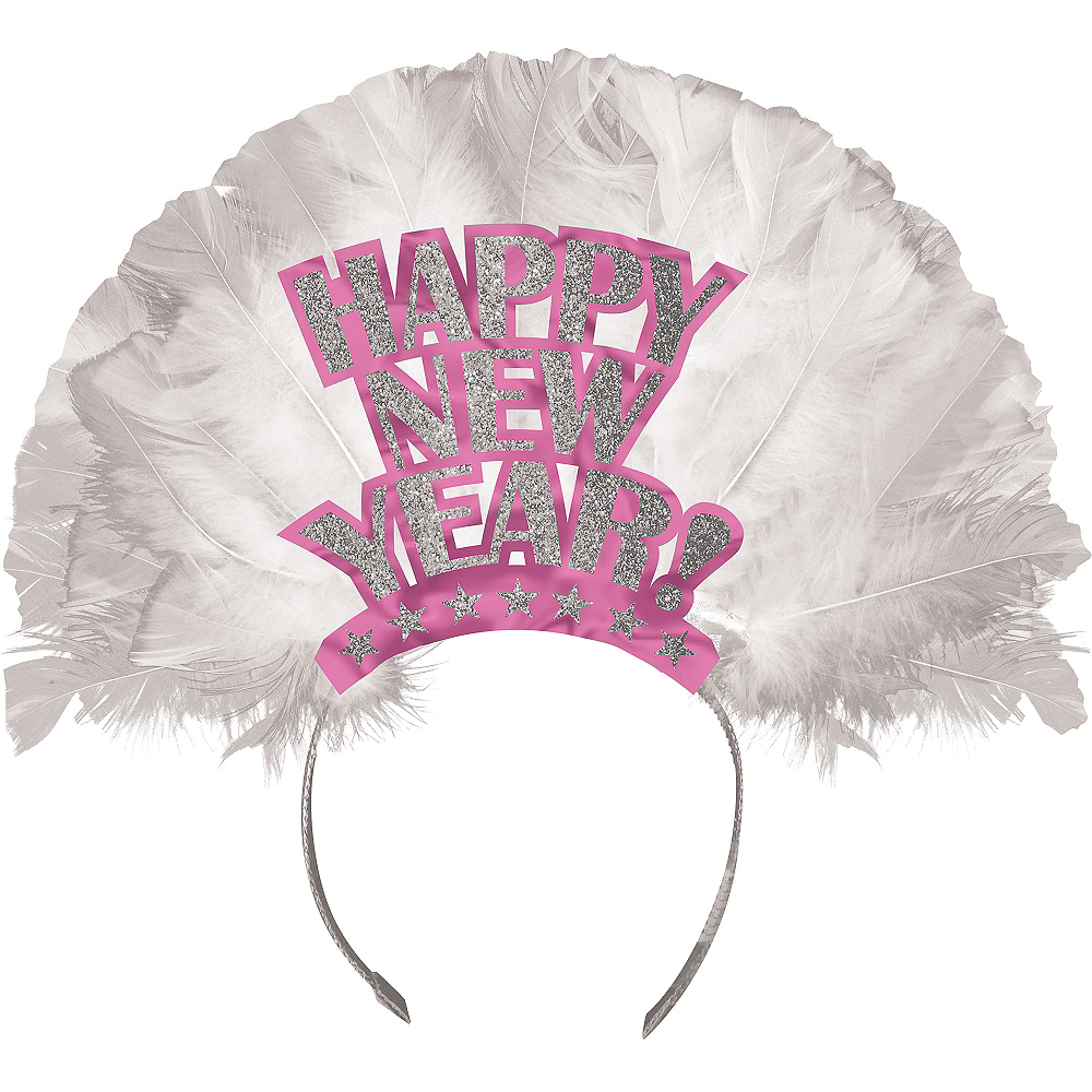Pink Happy New Year Feather Tiara Image #1