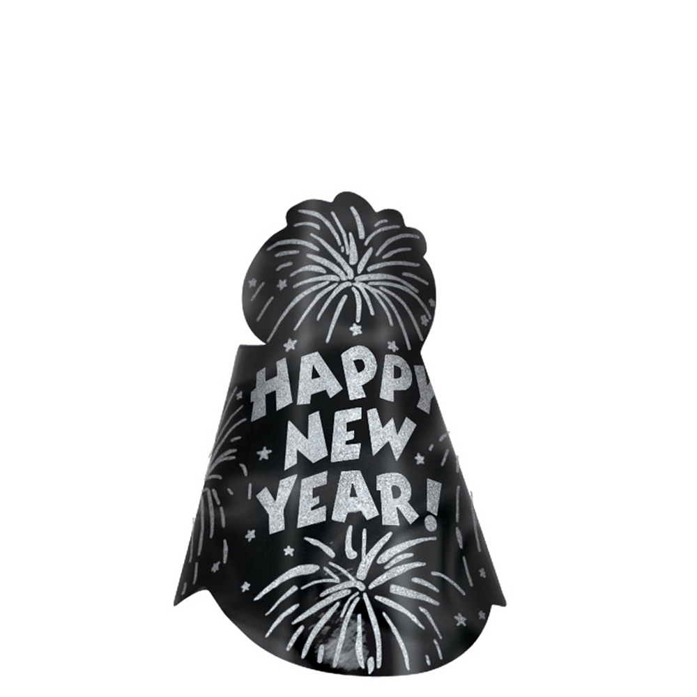Glitter Star Black New Year's Cone Hat Image #1
