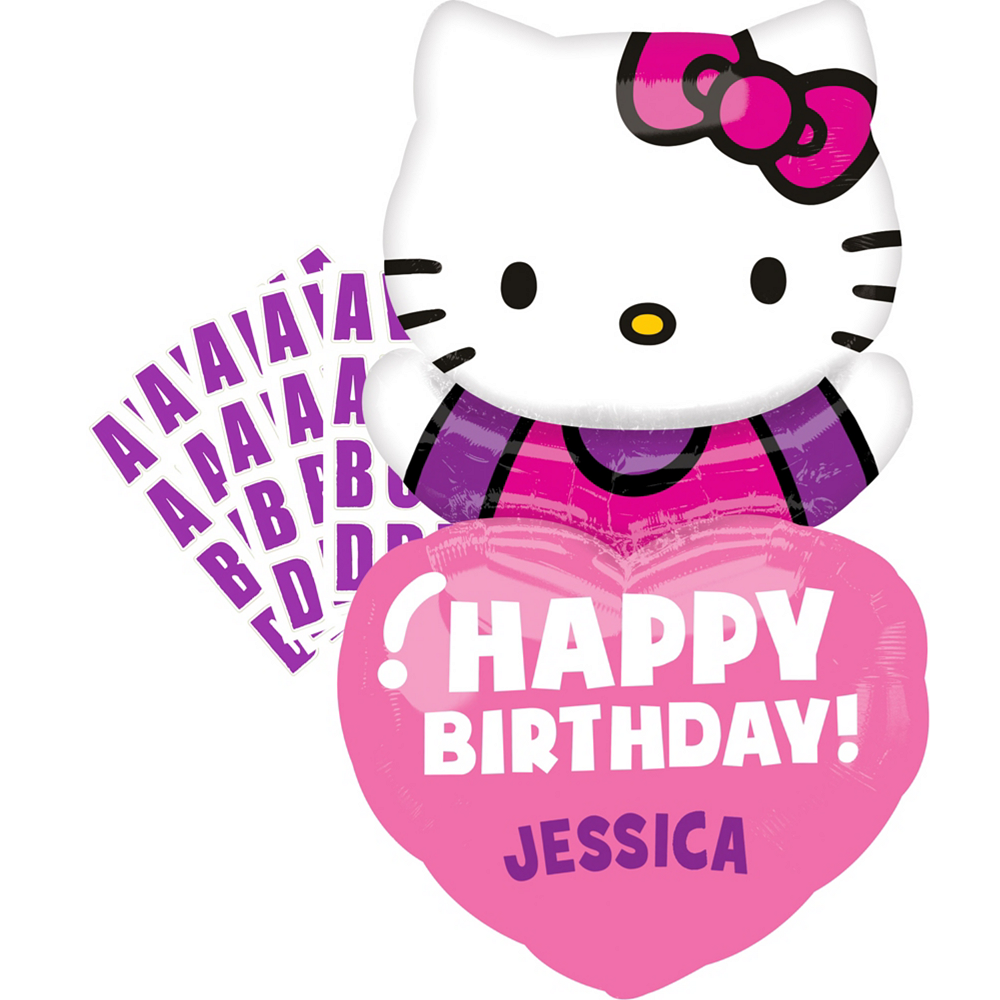 Personalized Heart Happy Birthday Hello Kitty Balloon 19in x 32in ... 9fd70fb451