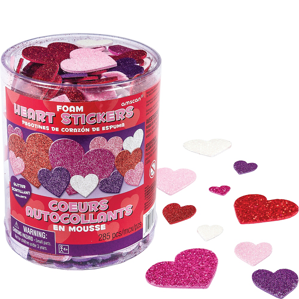 Glitter Foam Heart Stickers 285ct Image #1