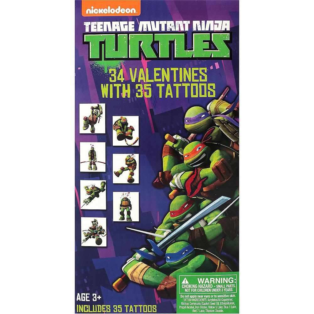 Teenage Mutant Ninja Turtles Valentine Exchange Cards with Tattoos 34ct Image #1