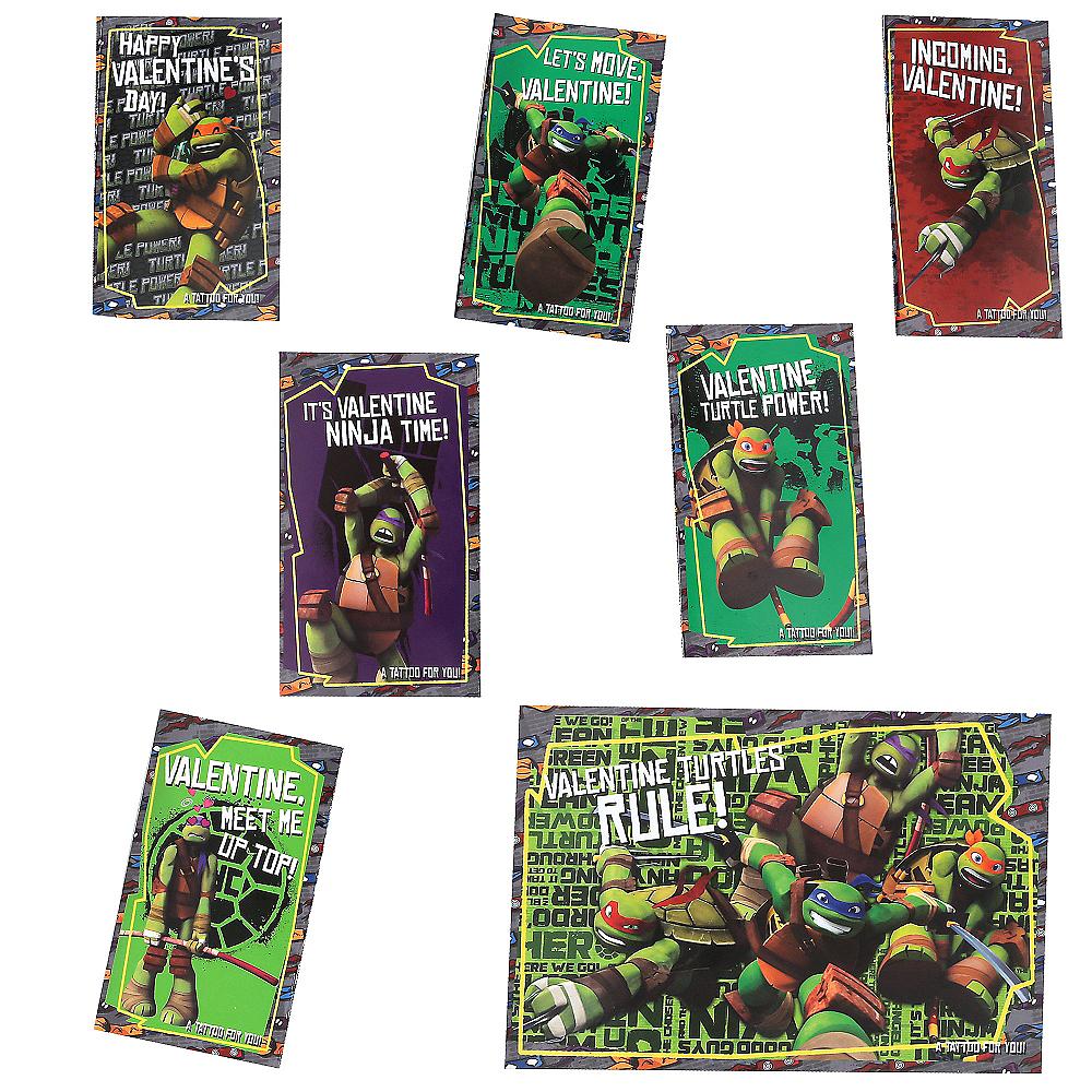 Teenage Mutant Ninja Turtles Valentine Exchange Cards with Tattoos 34ct Image #2