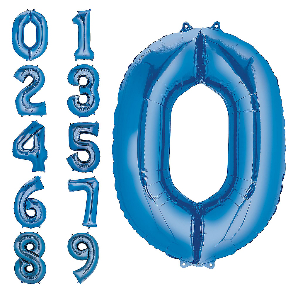 34in Blue Number Balloon (0) Image #1