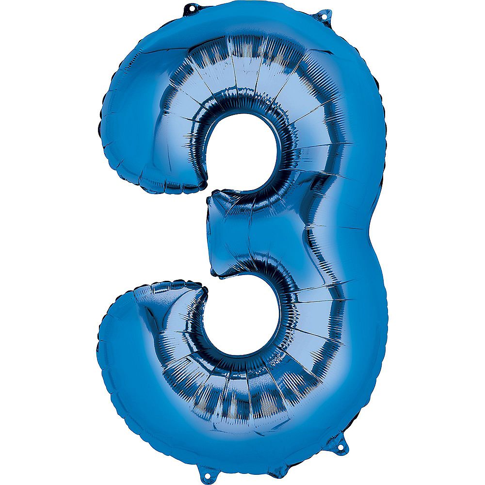 34in Blue Number Balloon (3) Image #1