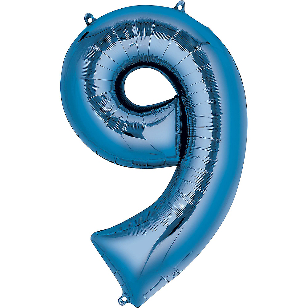 34in Blue Number Balloon (9) Image #1