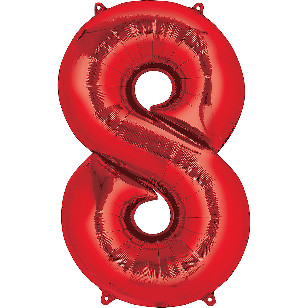 34in Red Number Balloon (8) Image #1
