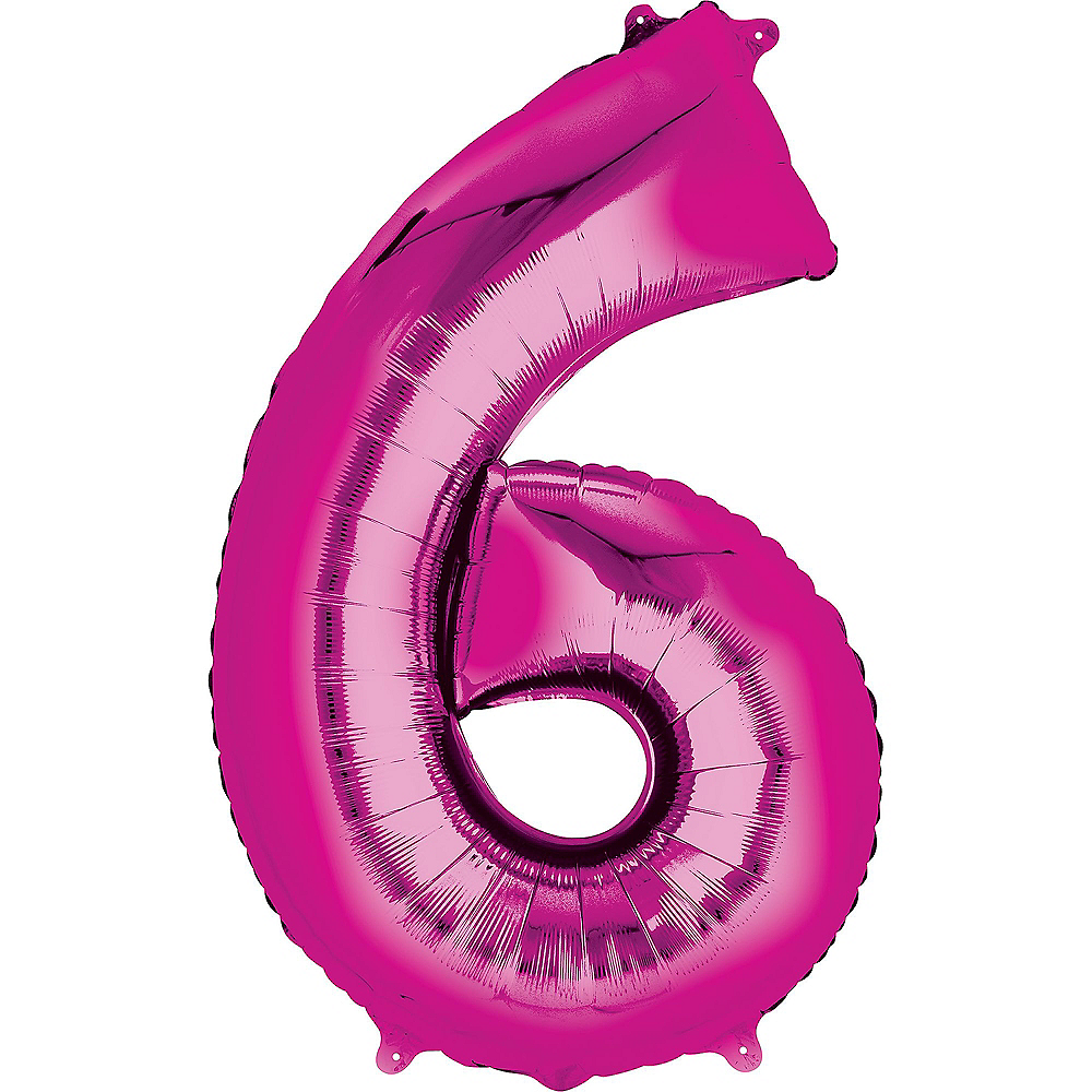 34in Bright Pink Number Balloon (6) Image #1