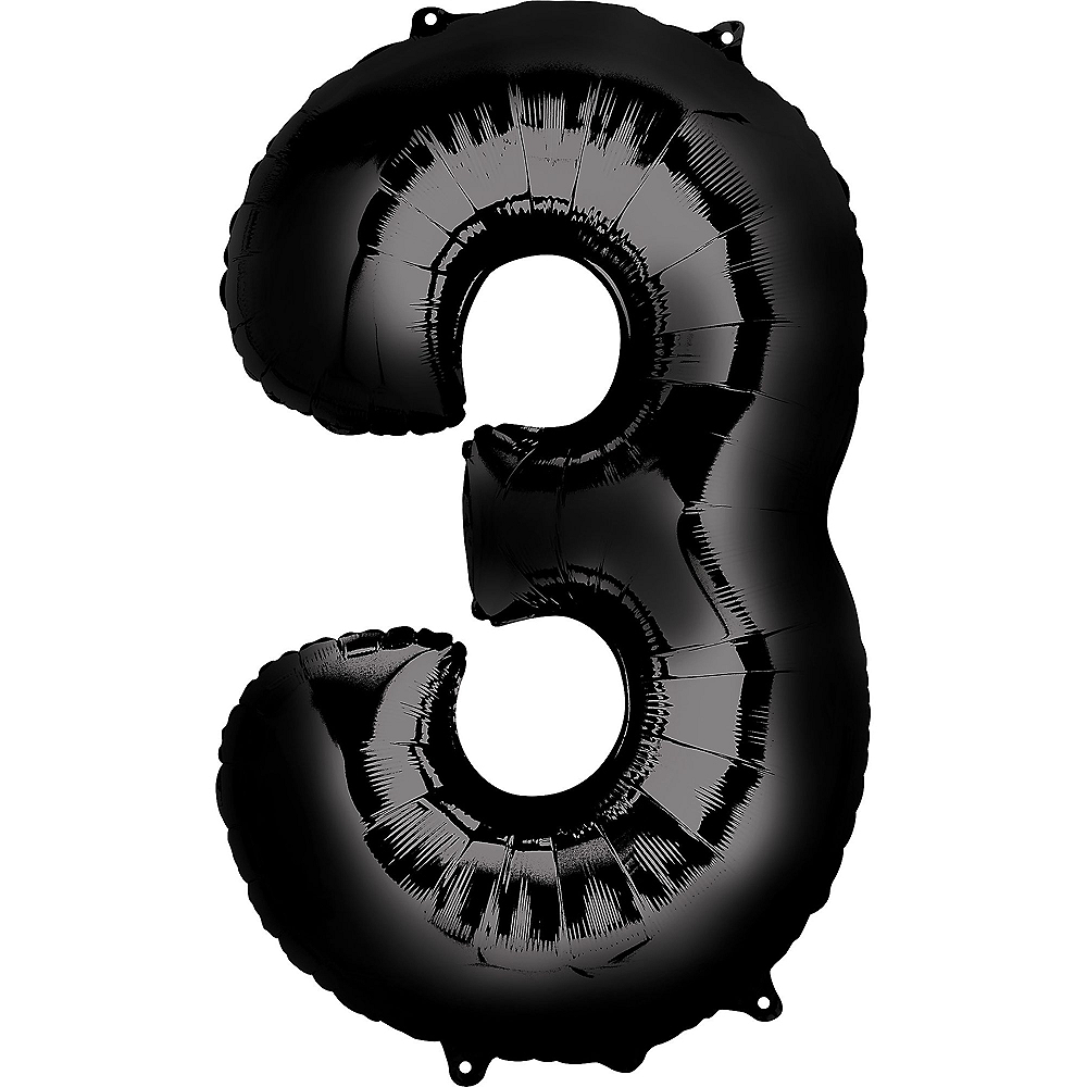 34in Black Number Balloon (3) Image #1
