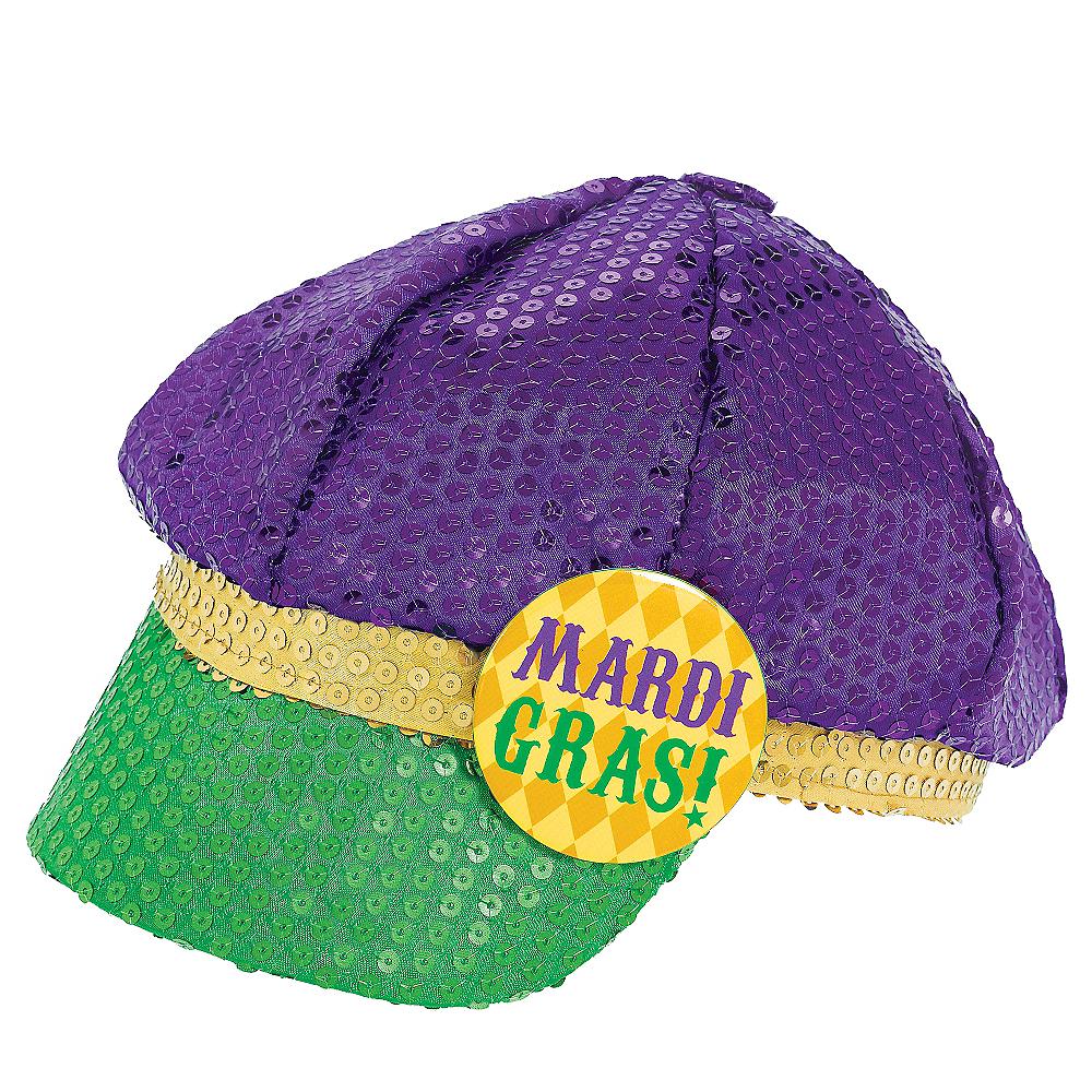 Sequined Mardi Gras Newsboy Hat Image #1