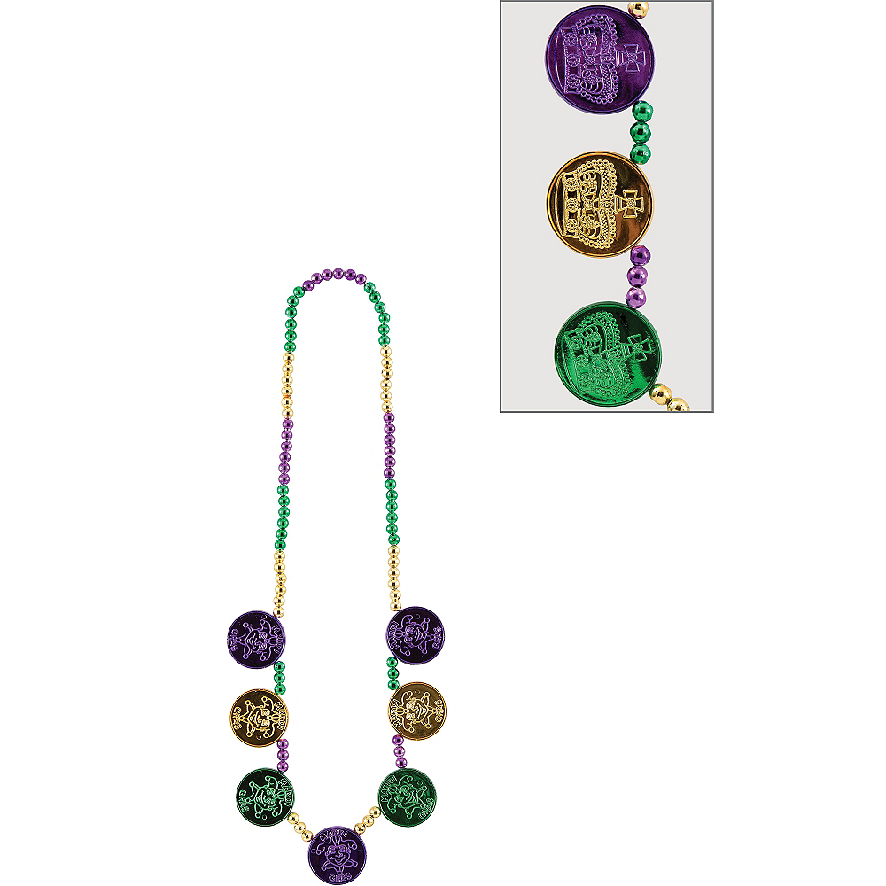 Coin Medallion Mardi Gras Bead Necklace Image #1