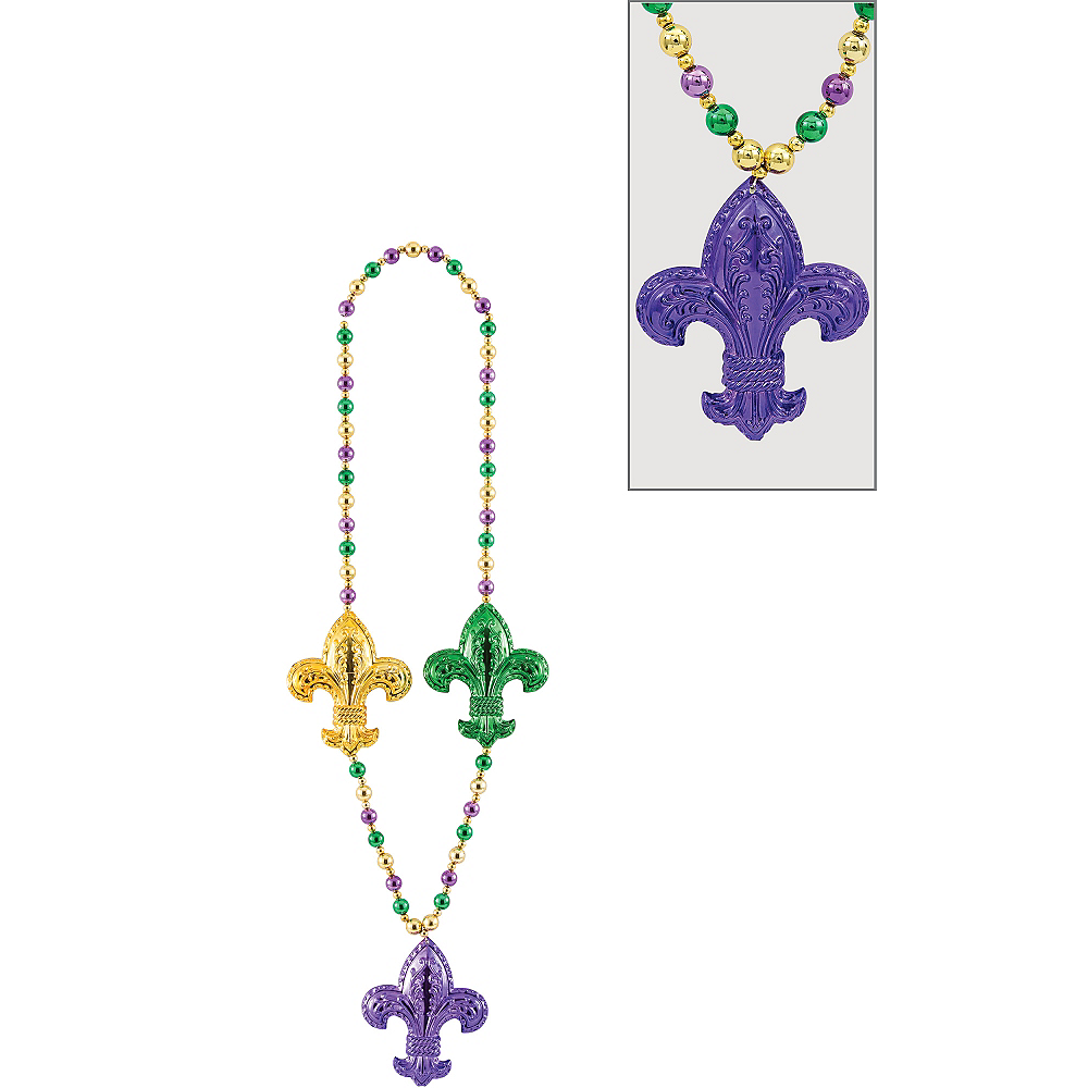 Nav Item for Jumbo Fleur-de-Lis Mardi Gras Bead Necklace Image #1