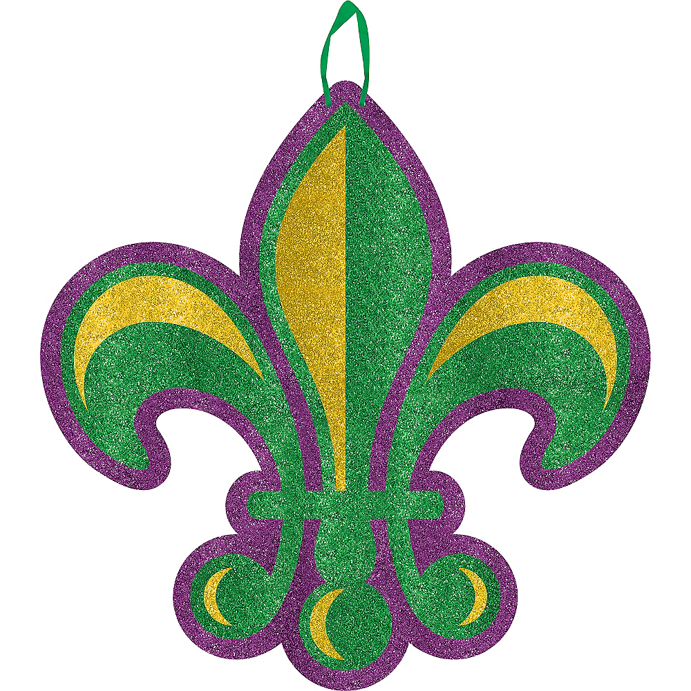 Nav Item for Glitter Fleur de Lis Mardi Gras Sign Image #1