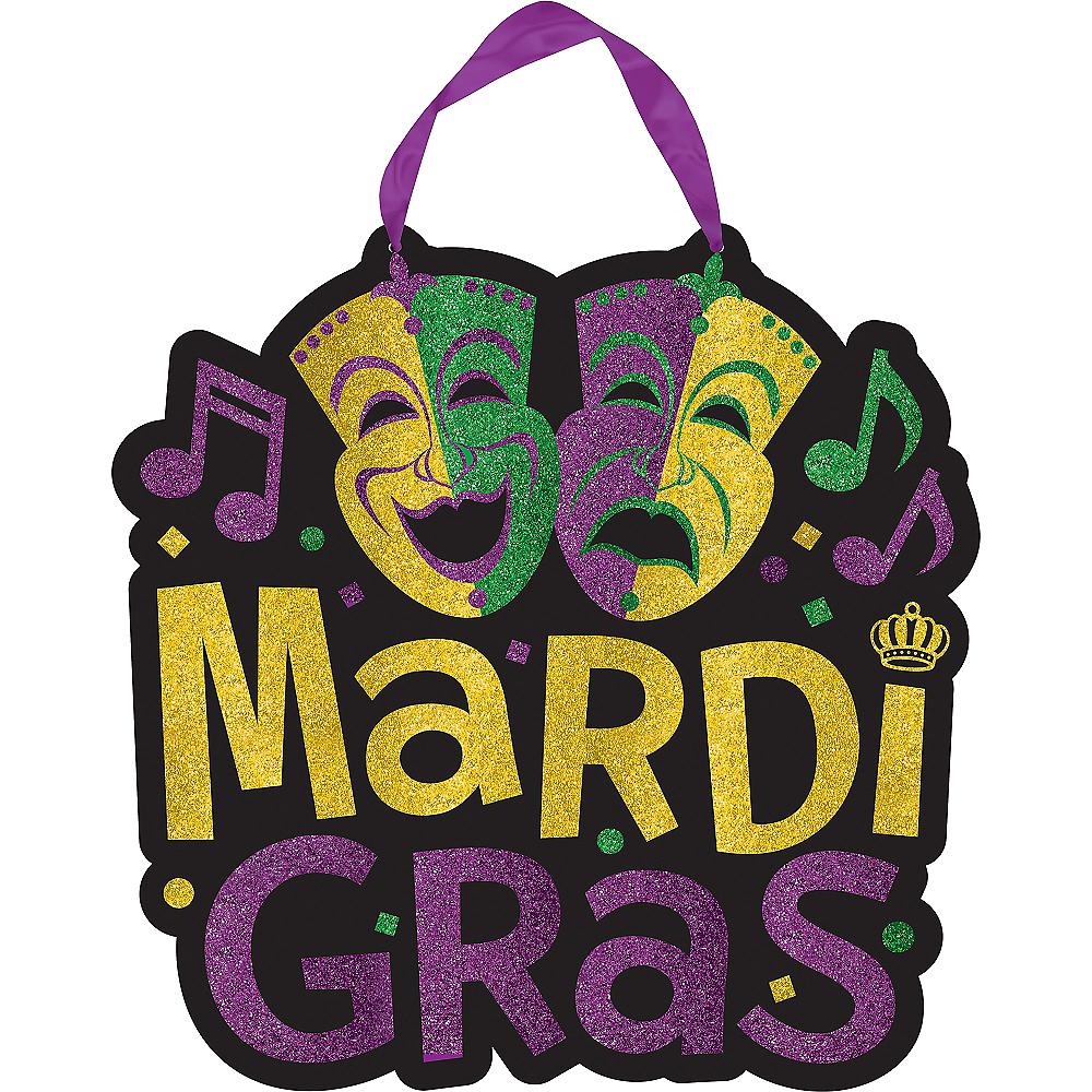 Glitter Comedy & Tragedy Mardi Gras Sign Image #1