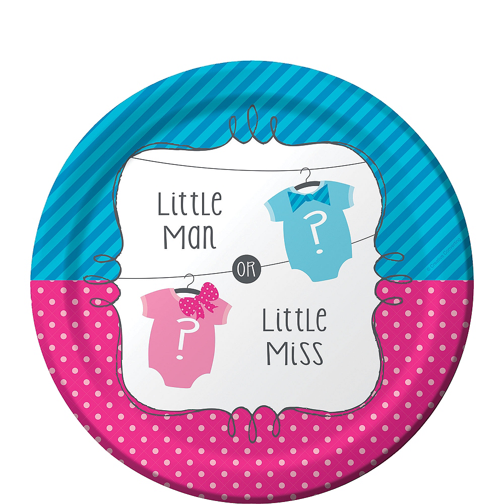 Little Man, Little Miss Gender Reveal Dessert Plates 8ct Image #1
