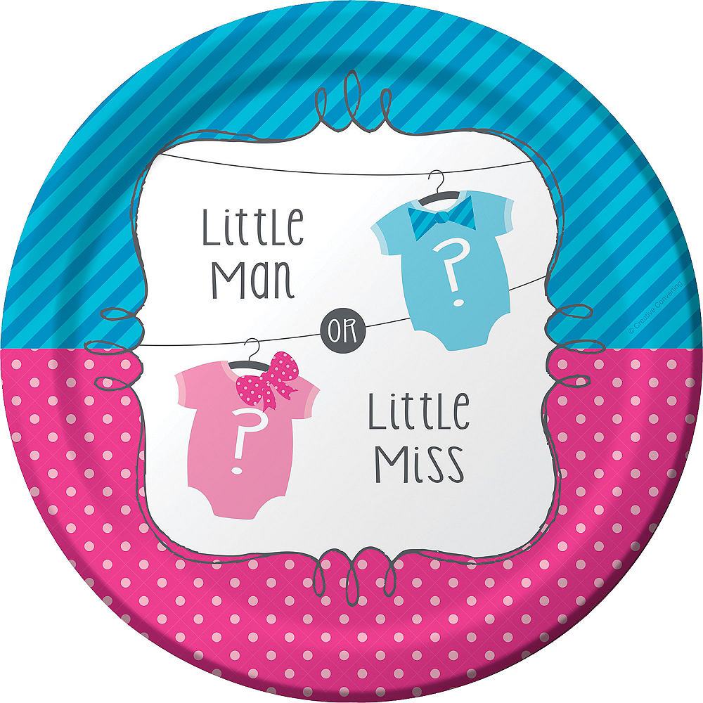 Nav Item for Little Man, Little Miss Gender Reveal Lunch Plates 8ct Image #1