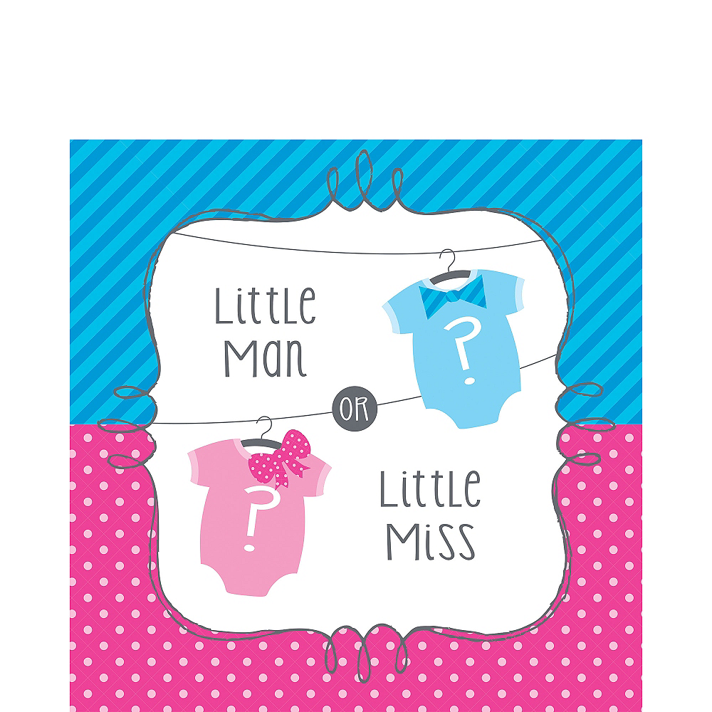 Little Man, Little Miss Gender Reveal Lunch Napkins 16ct Image #1