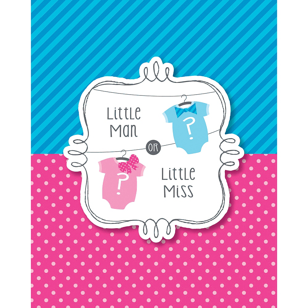 Little Man, Little Miss Gender Reveal Invitations 8ct Image #1