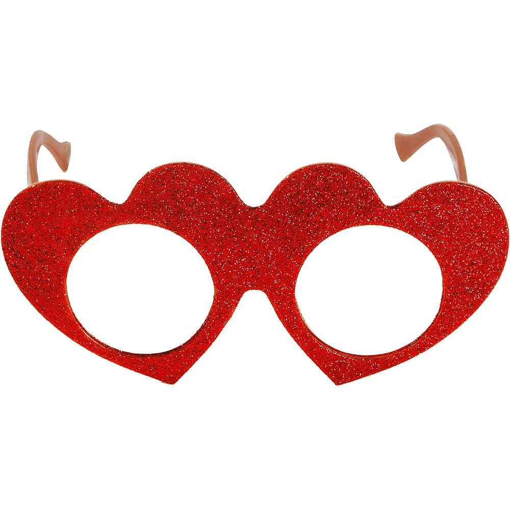 Red Valentine's Day Glitter Glasses Image #1
