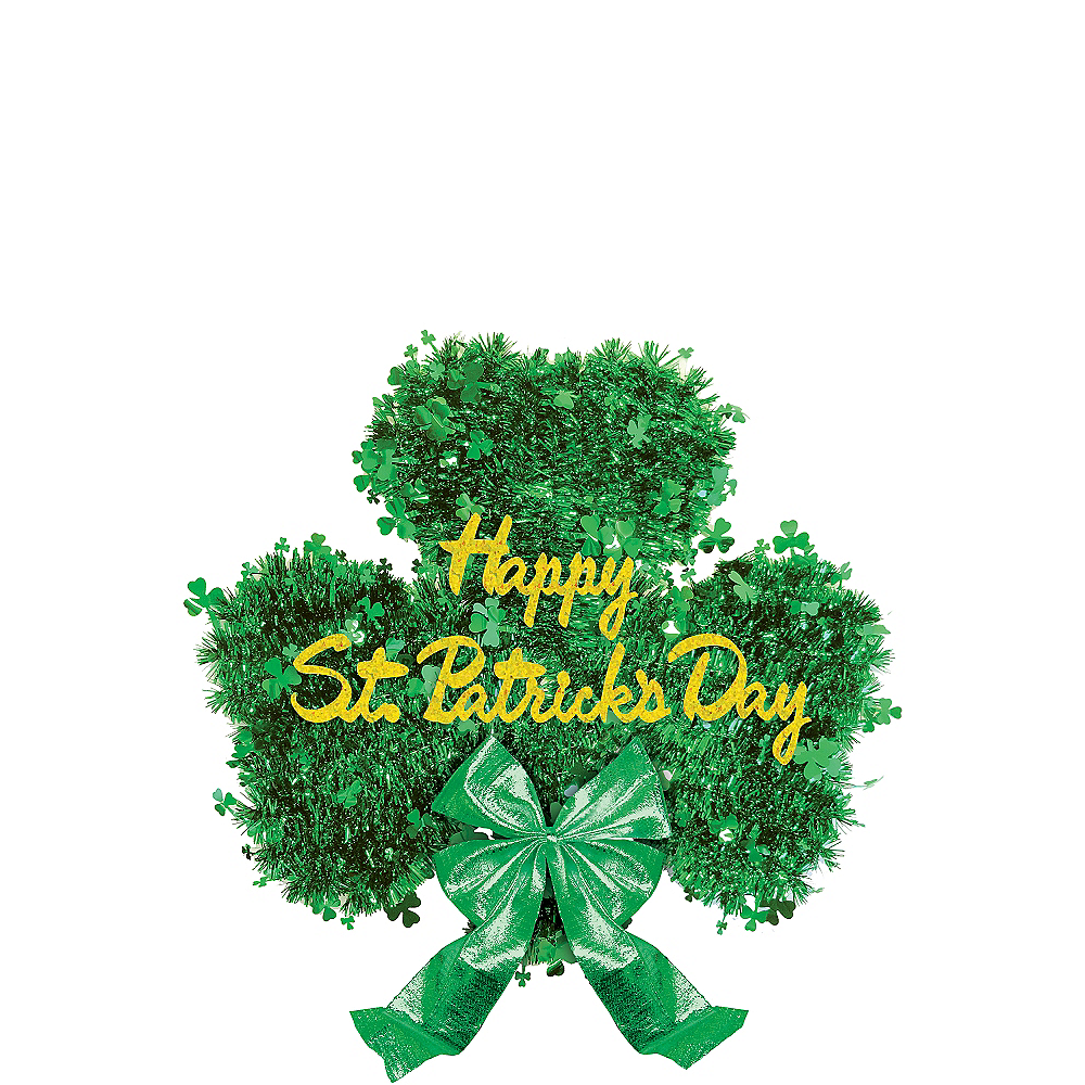 Deluxe Tinsel Shamrock Decoration Image #1