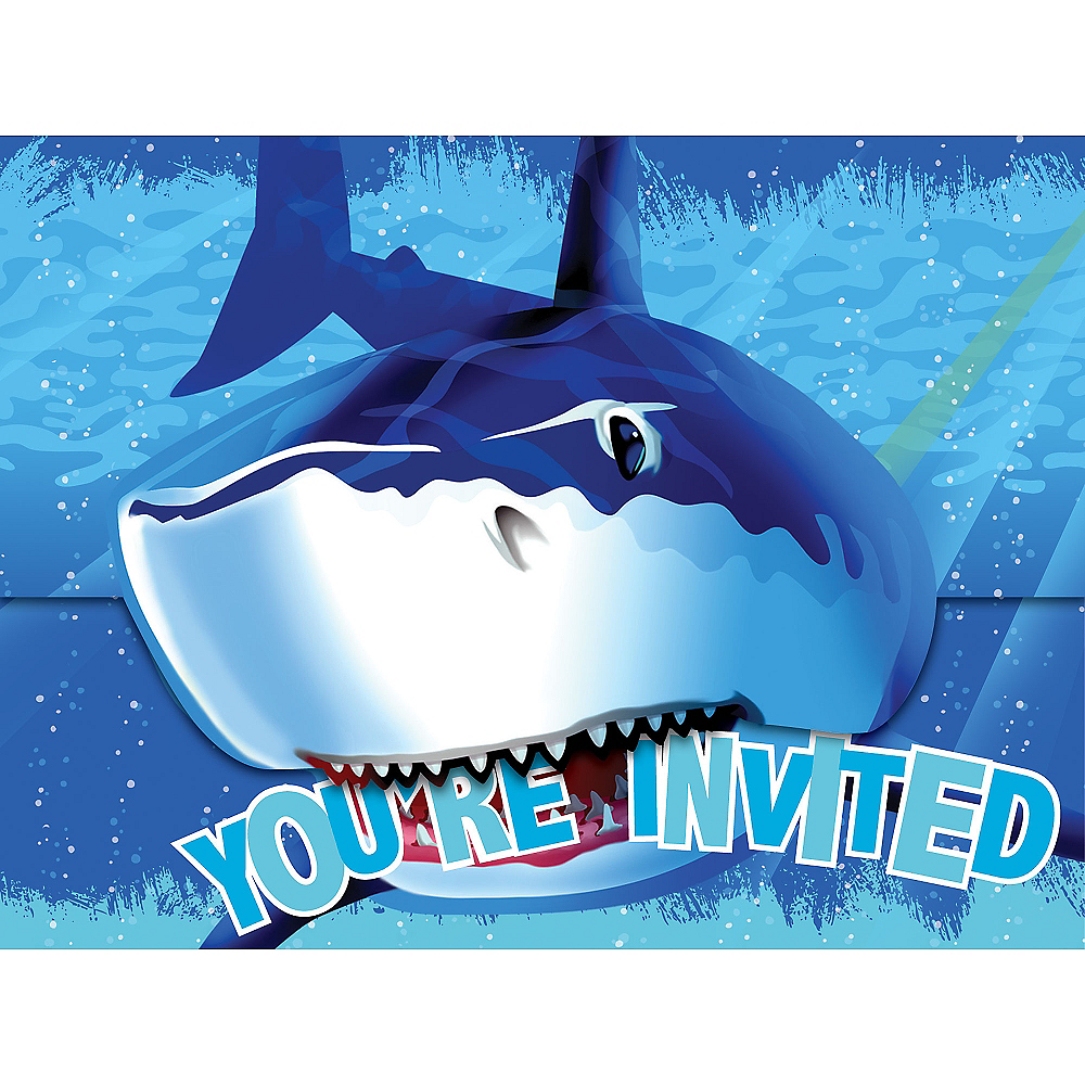 Shark Invitations 8ct Image #1
