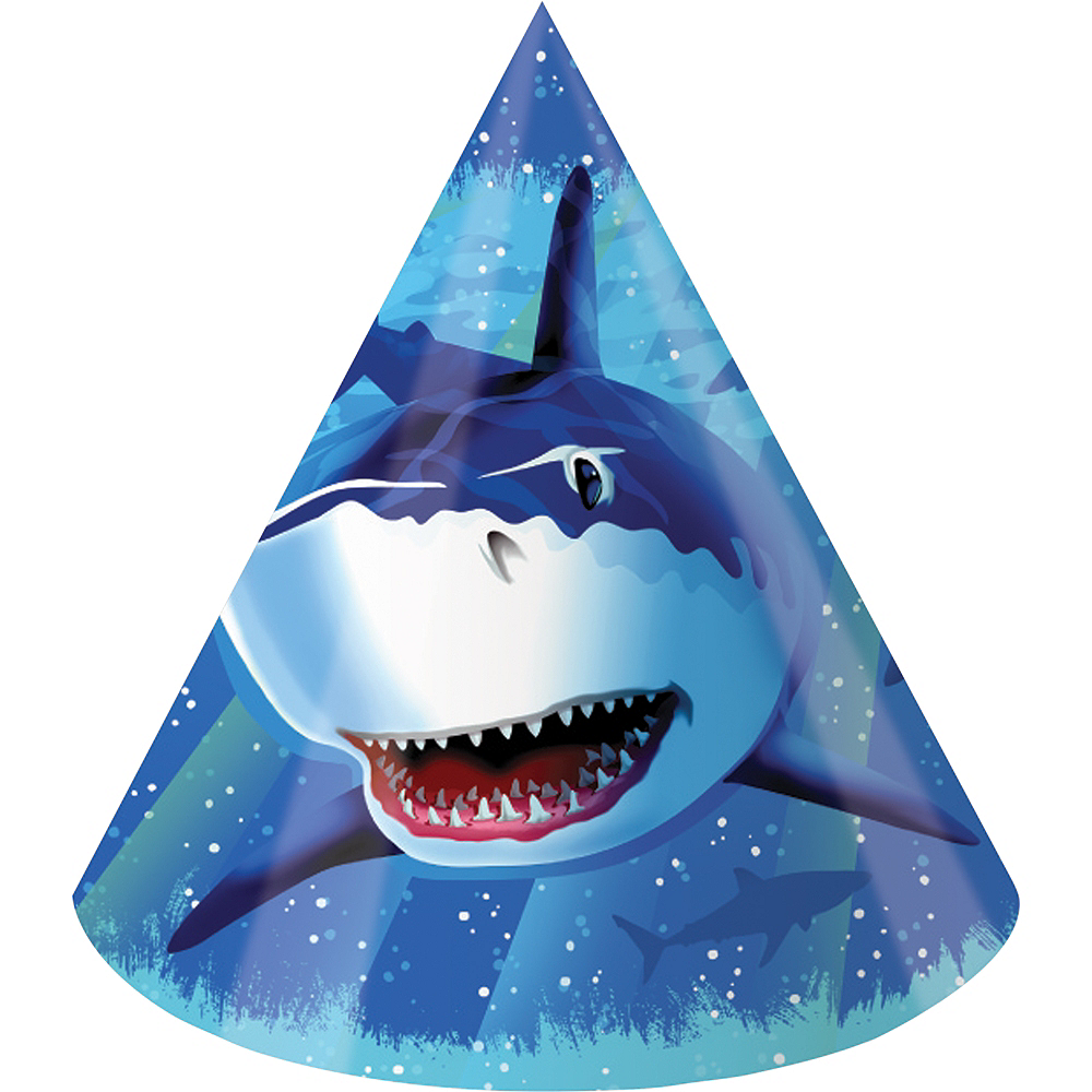 Shark Party Hats 8ct Image #1