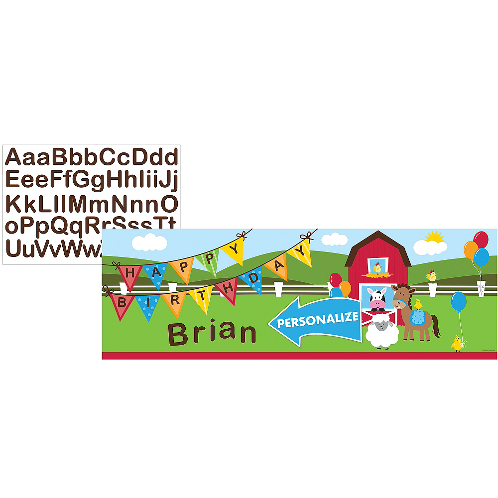 Farmhouse Fun Personalized Birthday Banner Image #1