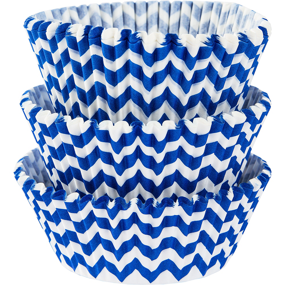 Royal Blue Chevron Baking Cups 75ct Image #1