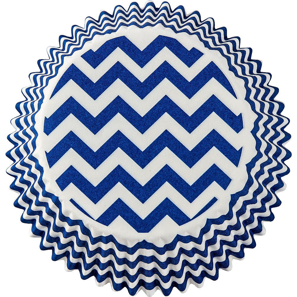 Royal Blue Chevron Baking Cups 75ct Image #2