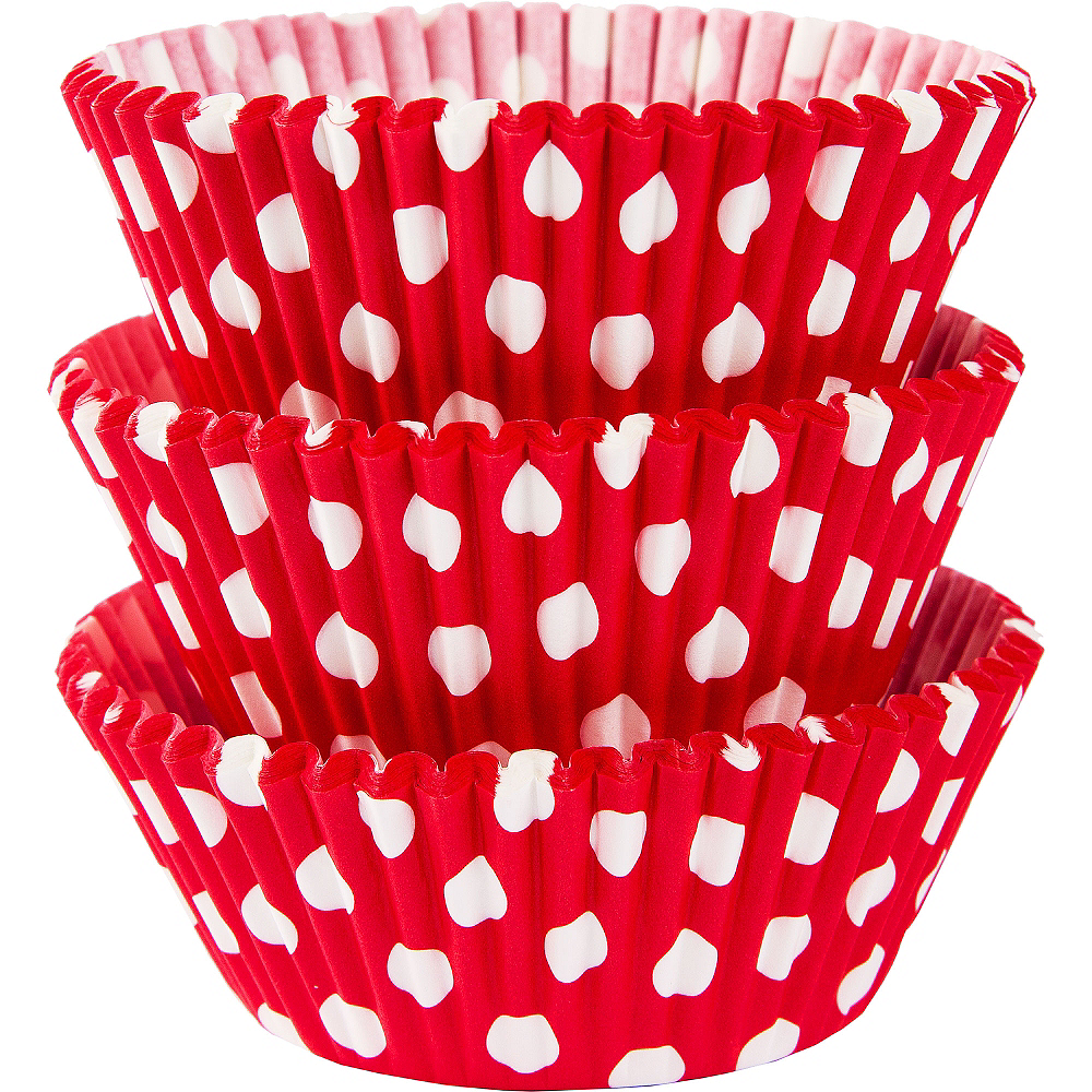 Red Polka Dot Baking Cups 75ct Image #1