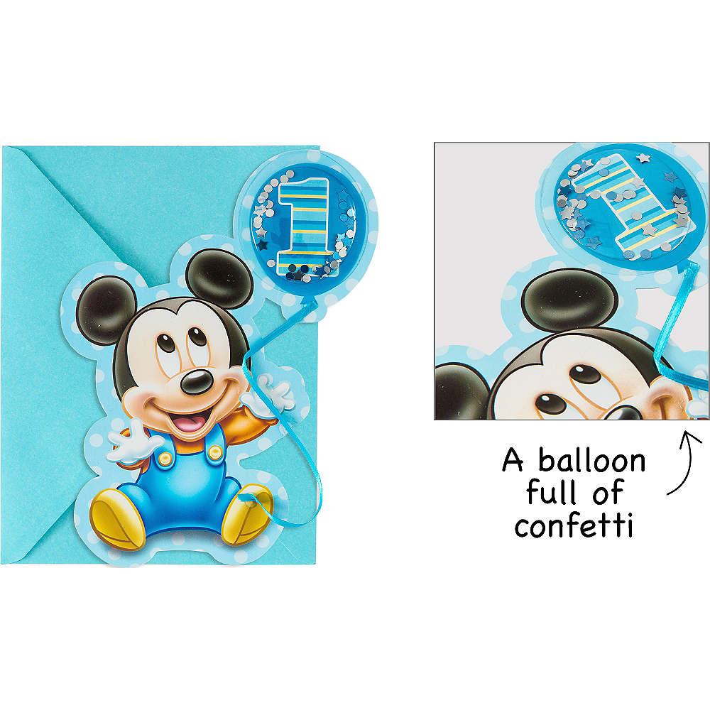 Premium 3D 1st Birthday Mickey Mouse Invitations 8ct | Party City