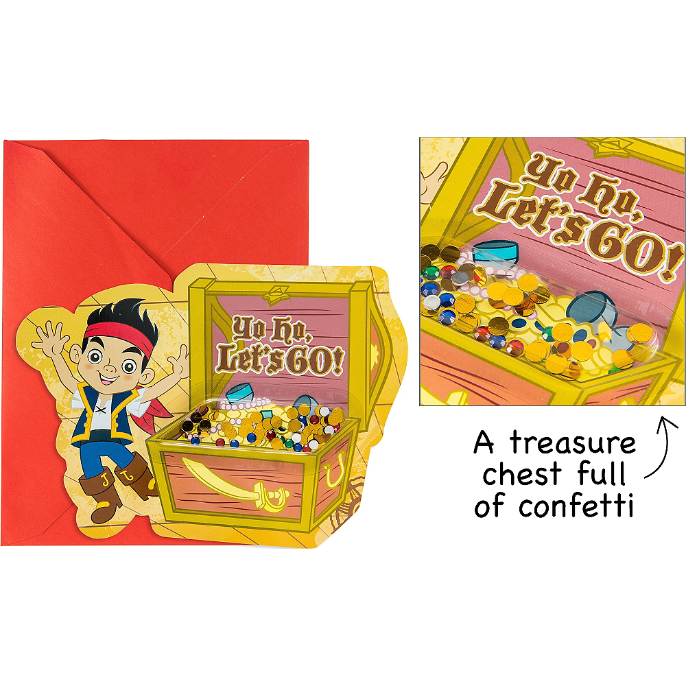 Premium 3D Jake and the Never Land Pirates Invitations 8ct Image #1