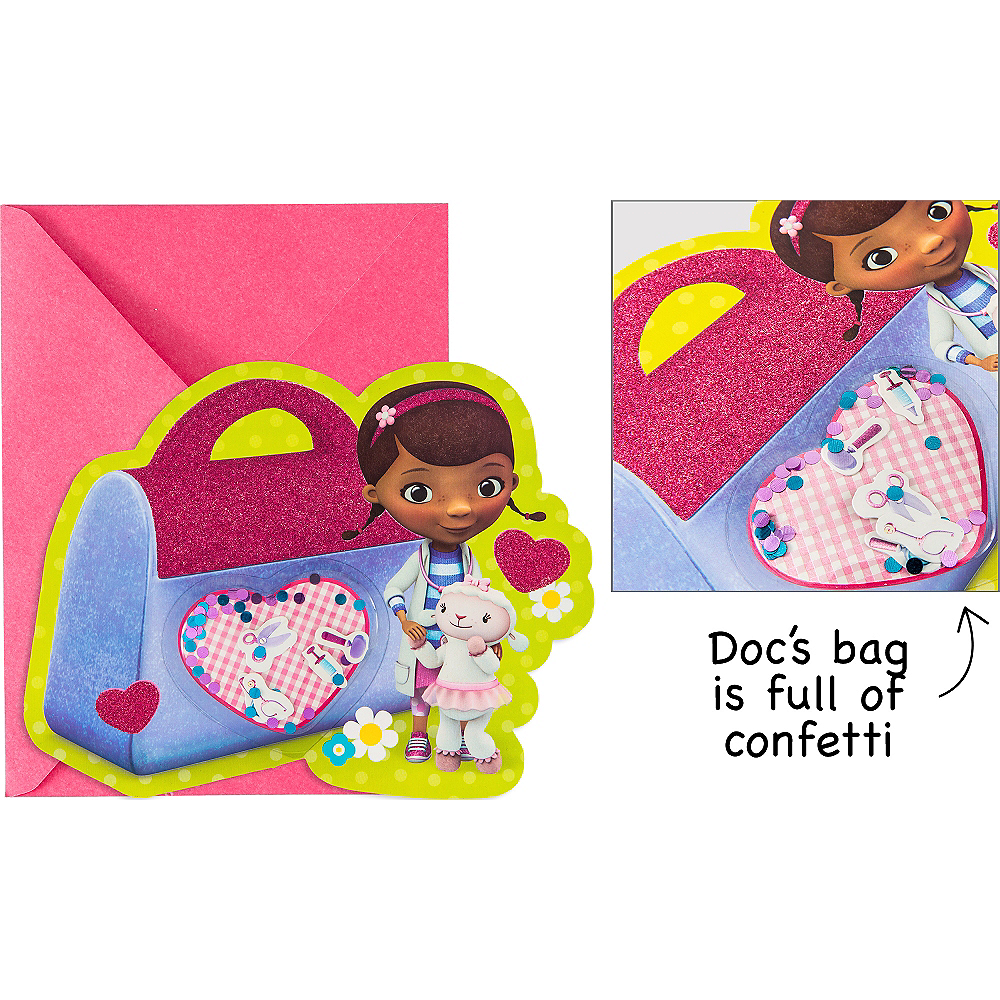 Nav Item for Premium Glitter 3D Doc McStuffins Invitations 8ct Image #1