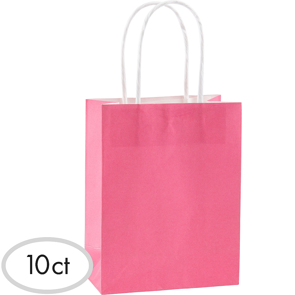 Medium Bright Pink Kraft Bags 10ct Image #1